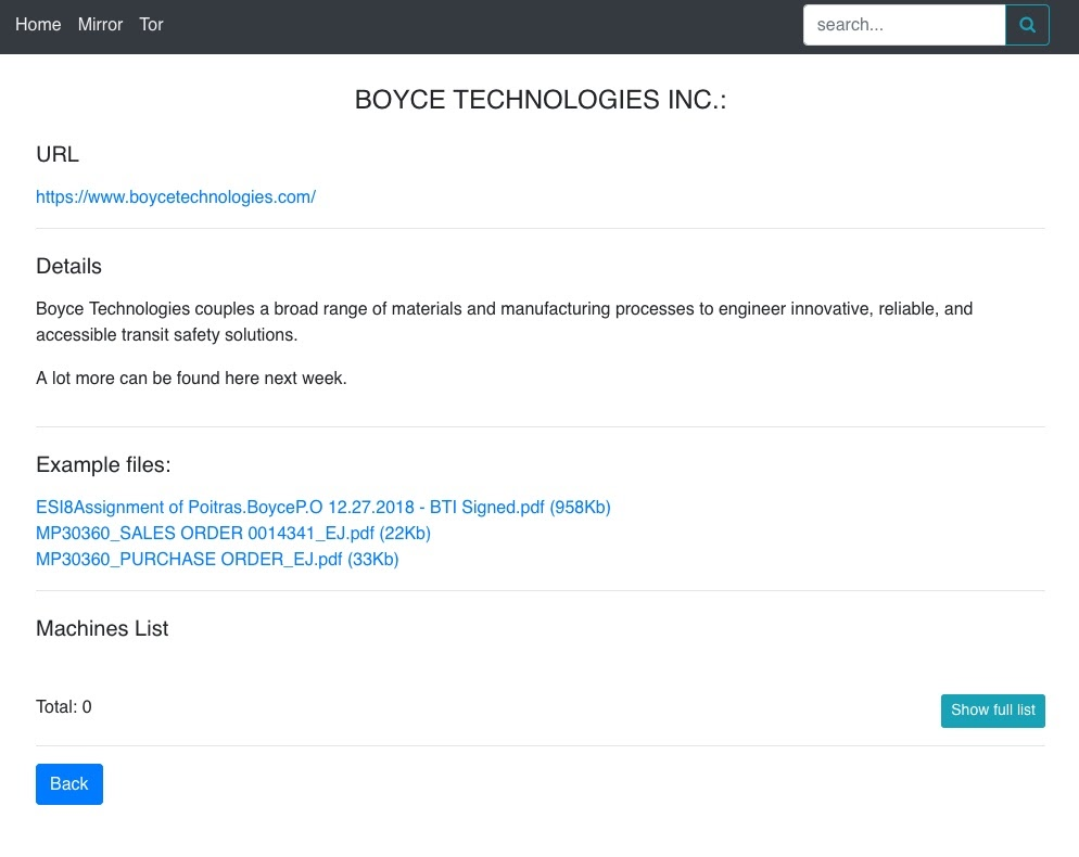 Boyce technologies inc