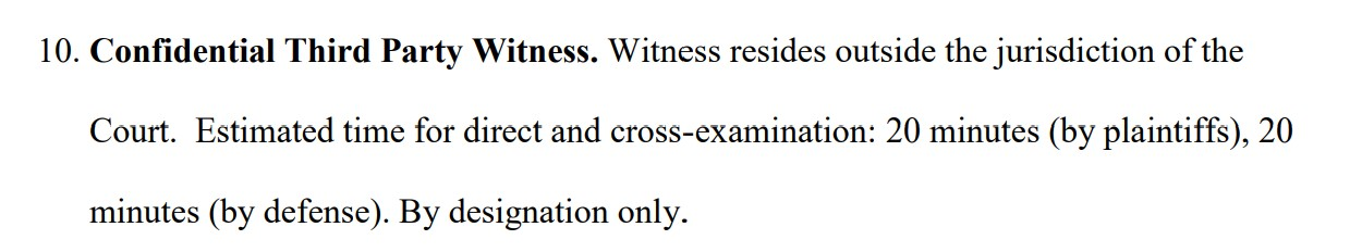 Confidential witness requested by the parties in Kleiman v. Wright case.