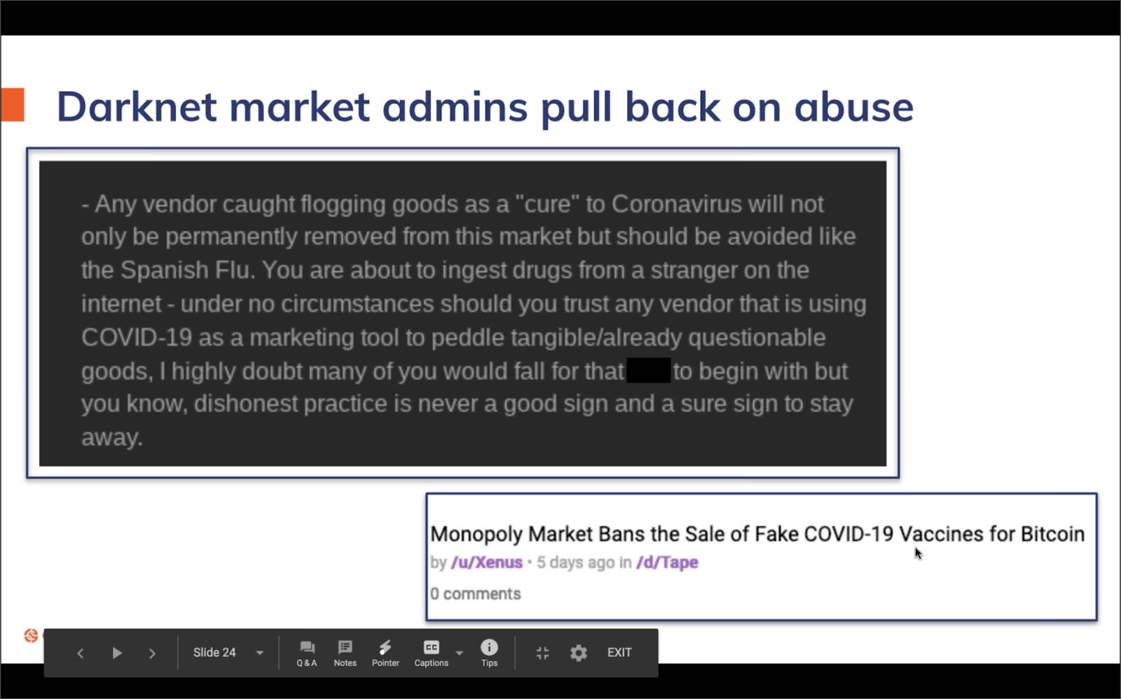 Alcuni marketplace sul dark net hanno vietato annunci legati al coronavirus