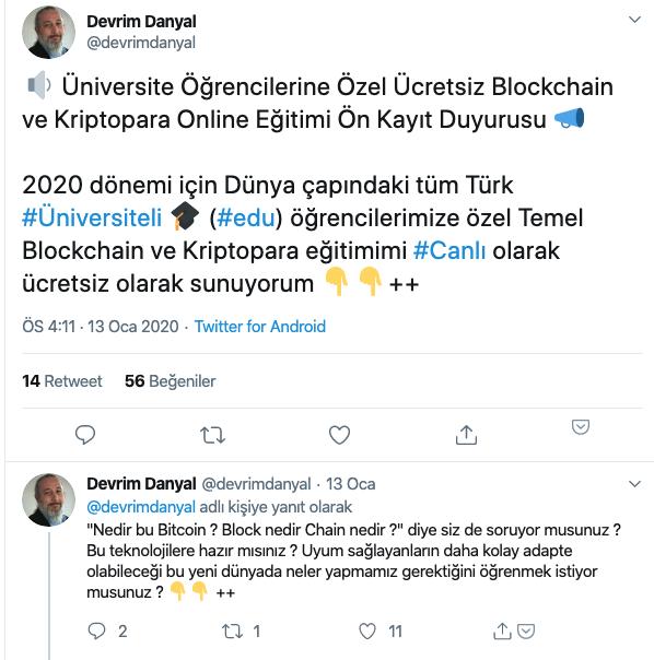 Devrim Danyal ücretsiz blockchain egitimi