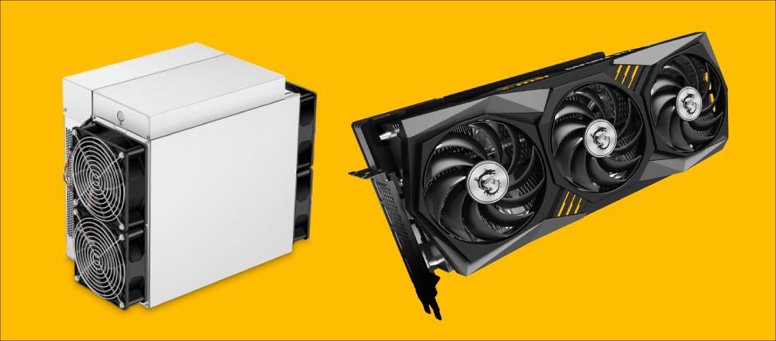 マイニングするにはマイニング機(ASIC)やグラフィックボード(GPU)を使う 左:Antminer S19 Pro(出所 BITMAIN) 右:GeForce RTX 3070 GAMING X TRIO(出所 MSI)
