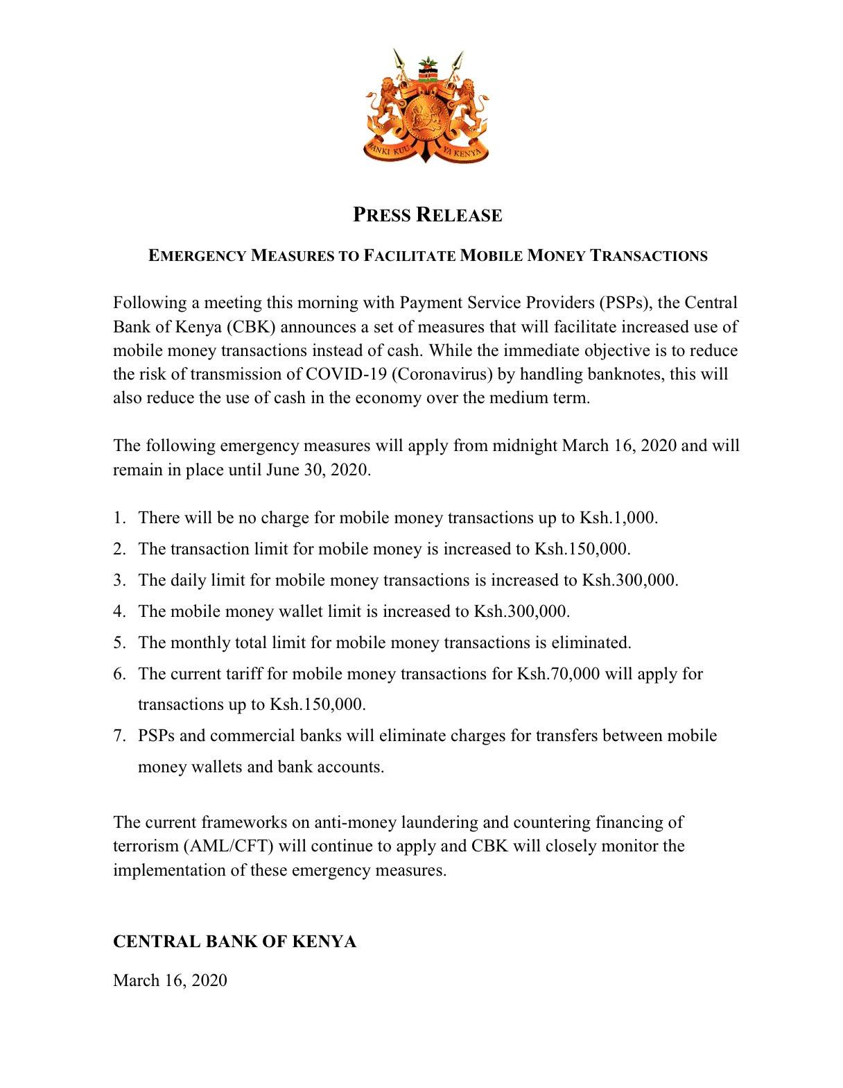 Comunicato stampa: Misure di emergenza per agevolare le transazioni di denaro da dispositivi mobili