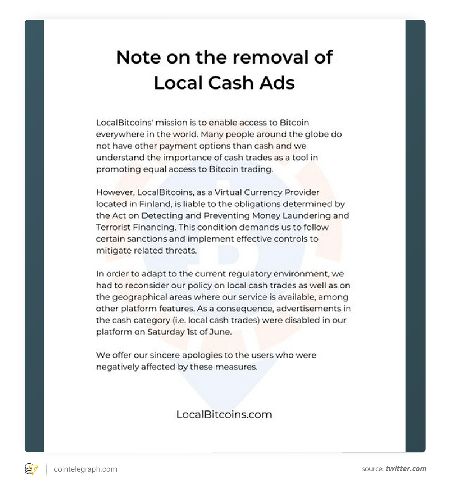 Note on the removal of Local Cash Ads