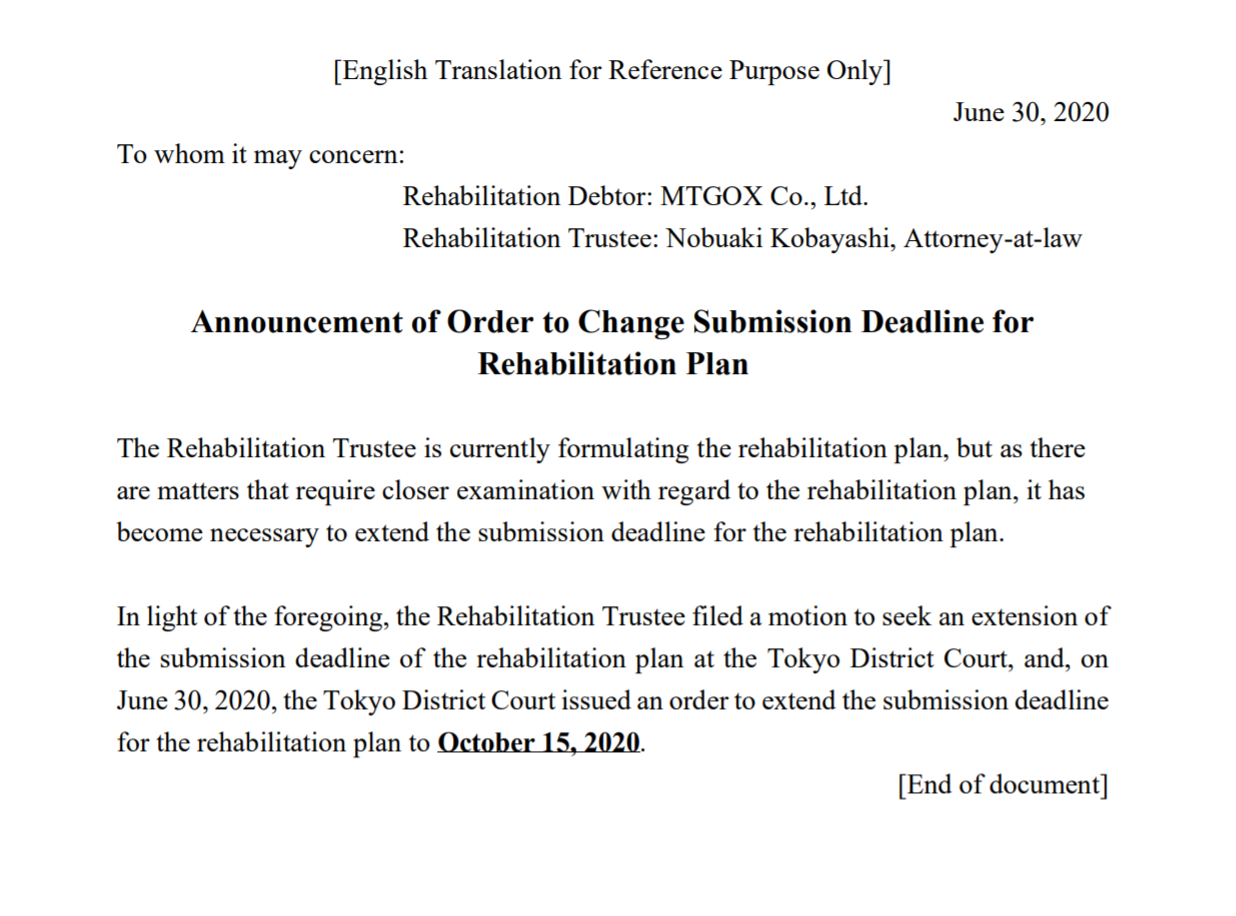 The Mt.Gox trustee statement