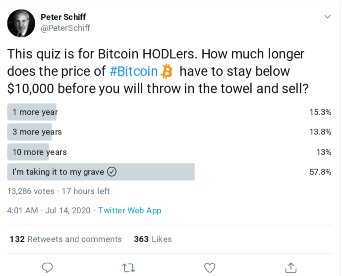 Peter Schiff's latest Twitter survey