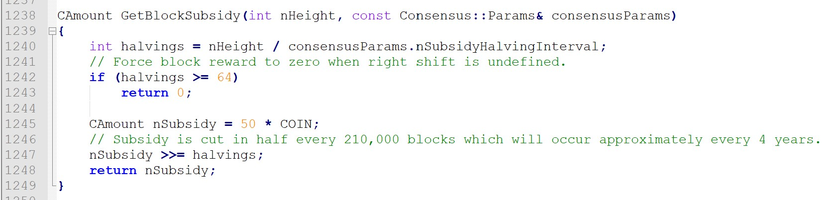 Bitcoin halving code