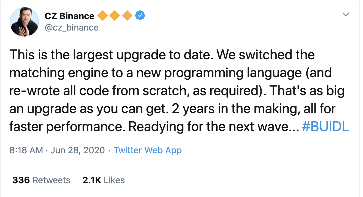 CZ Binance Tweet