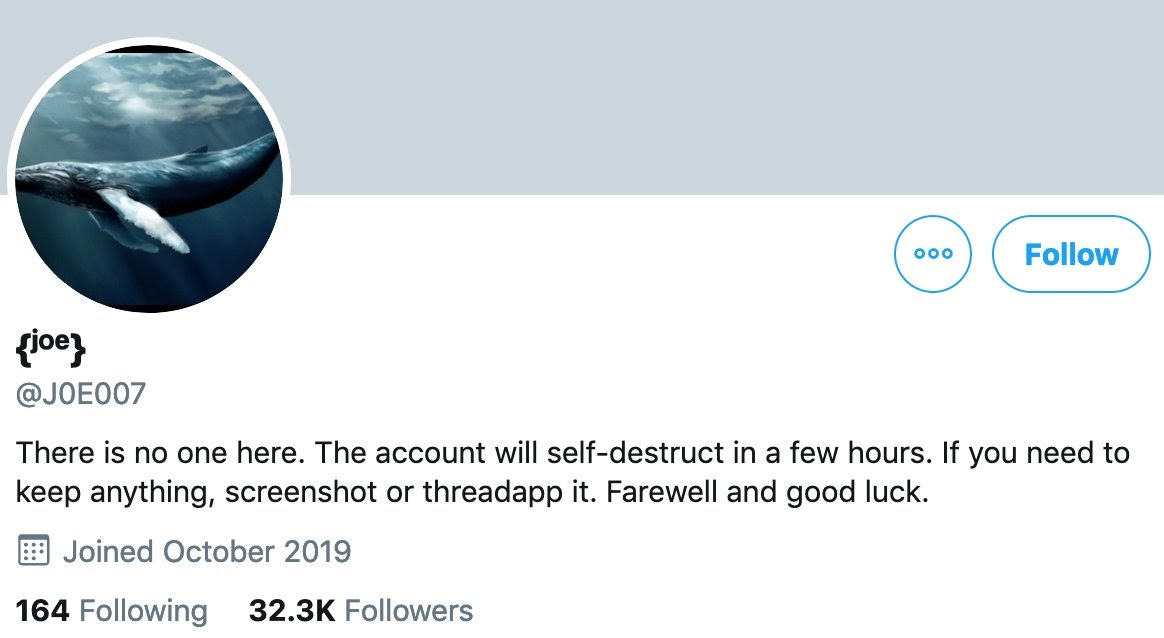 Joe007's Twitter account before it self-destructed