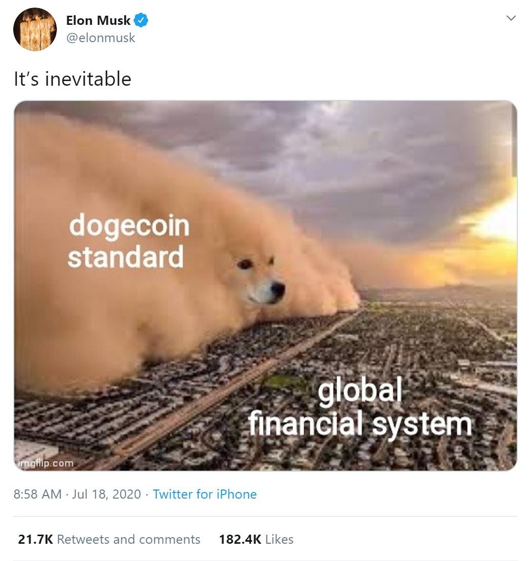 Elon Musk tweets a Dogecoin meme