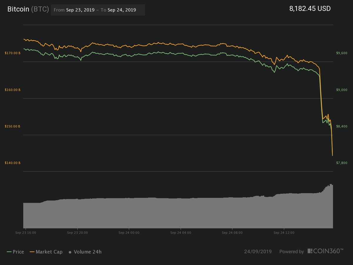 Bitcoin 24 hour price chart. Source: Coin360
