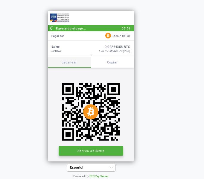 Página de pagamento do passaporte com Bitcoin
