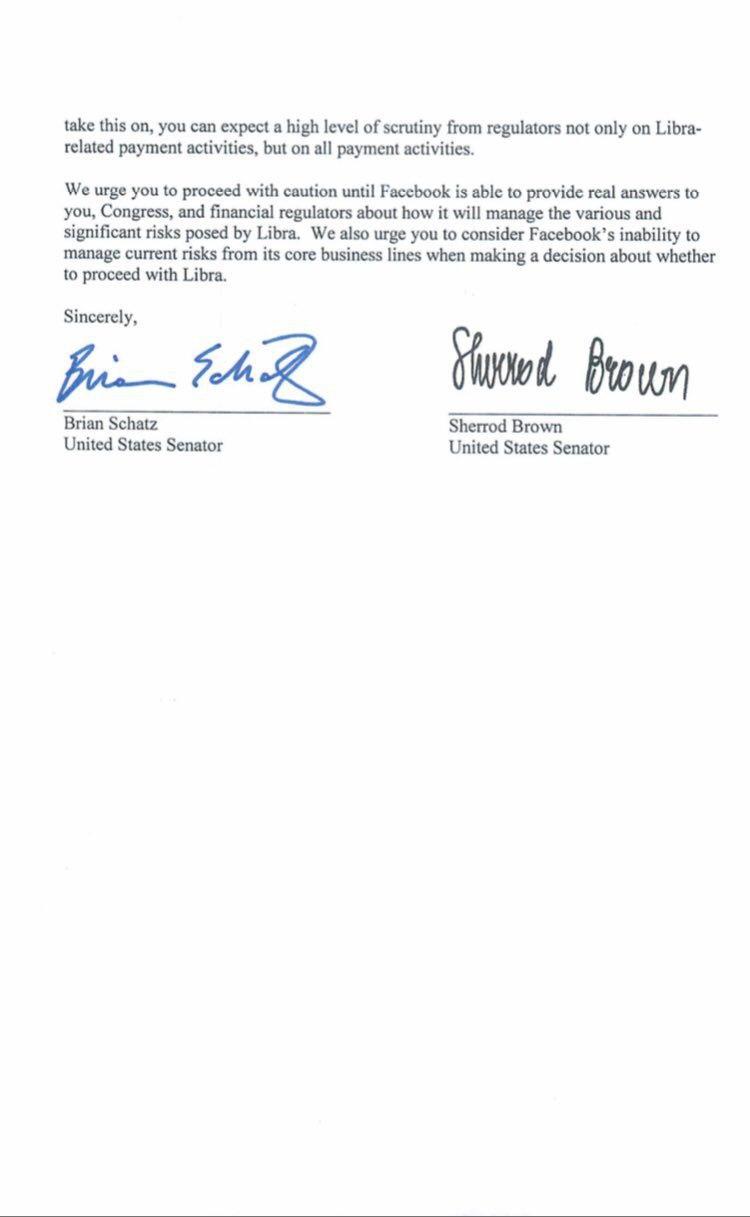 Lettera del Senato USA