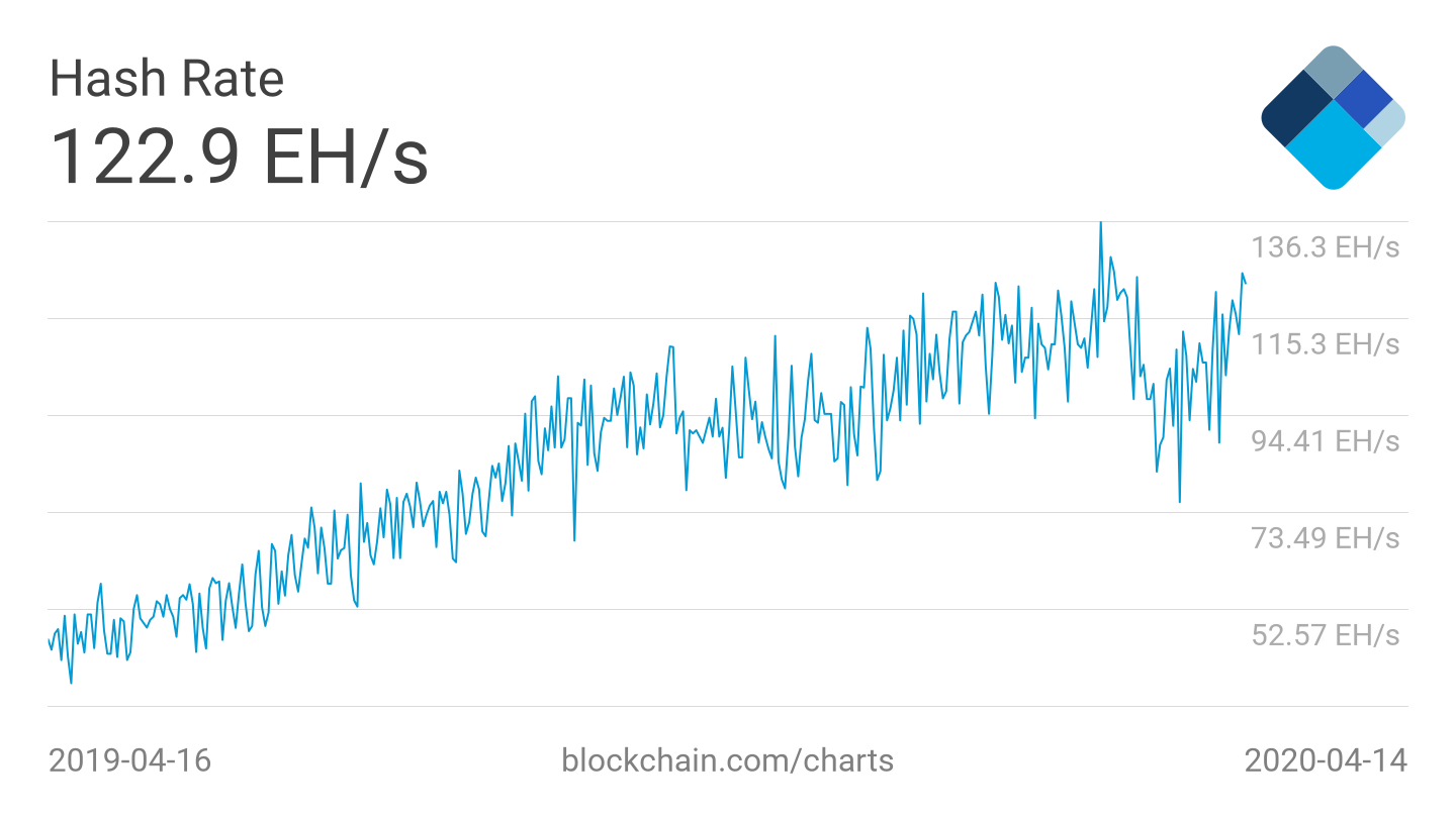 Bitcoin hash rate 1-year chart