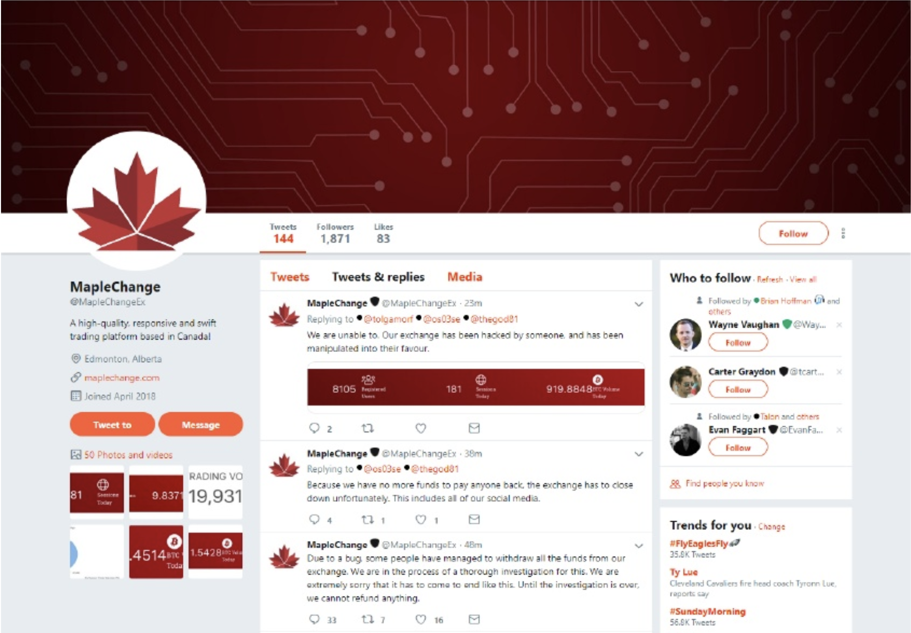 仮想通貨取引所メープルチェンジのTwitterアカウント
