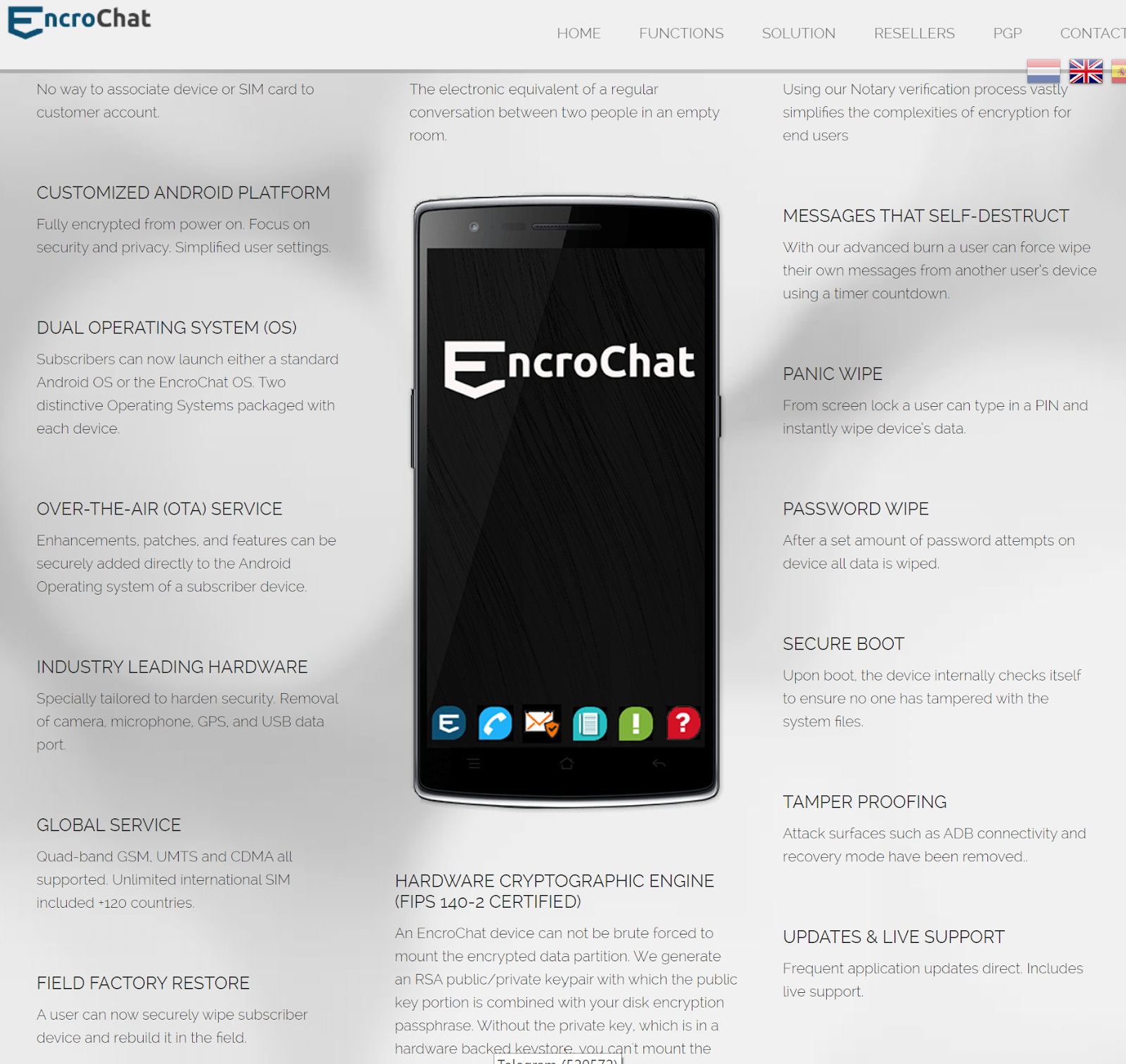 EnchroChat Main Page (the site is currently offline)