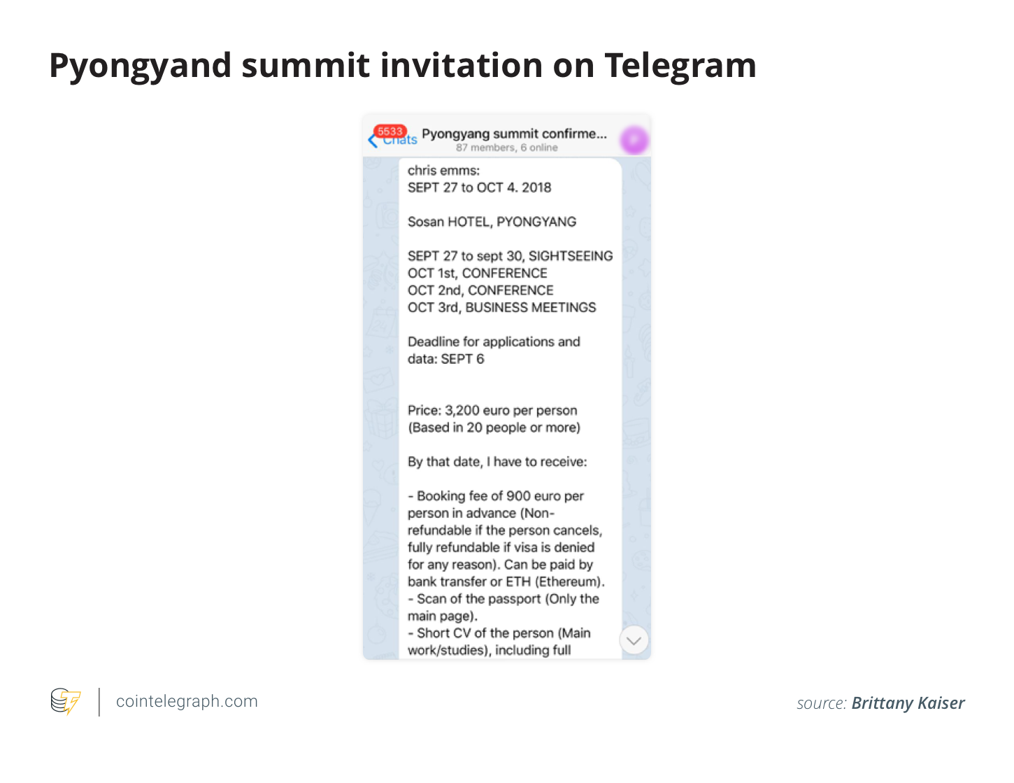 Pyongyand summit invitation on Telegram