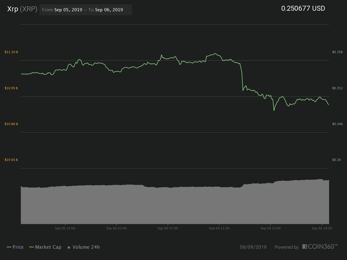 XRP 24-hour price chart