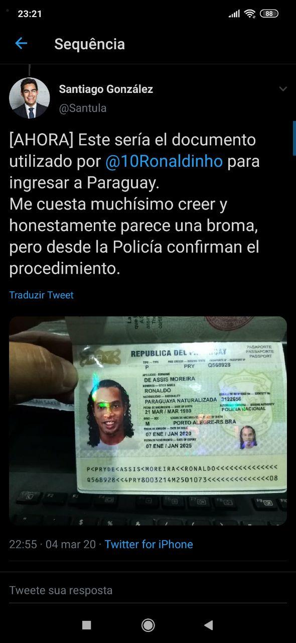 Il passaporto falso utilizzato daRonaldinho Gaúcho per entrare inParaguay
