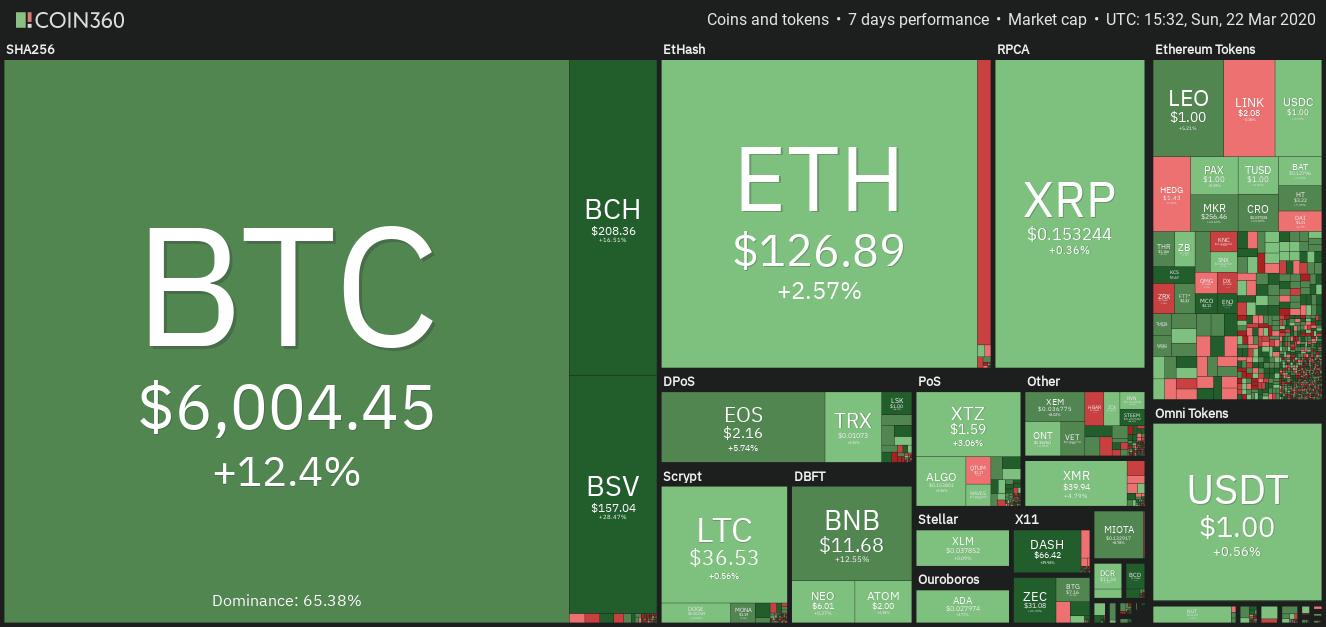 Crypto marknaden data veckoöversikten. Källa: Coin360
