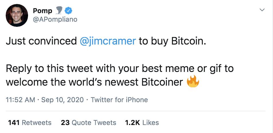 Ho appena convinto Jim Cramer a comprare Bitcoin