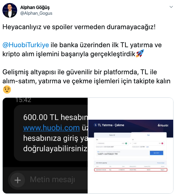 Huobi Türkiye TRY OnRamp Tweet