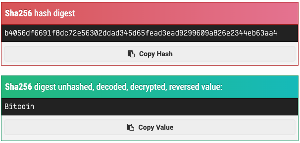 Bitcoin kelimesinin SHA-256 hash algoritmasındaki karşılığı