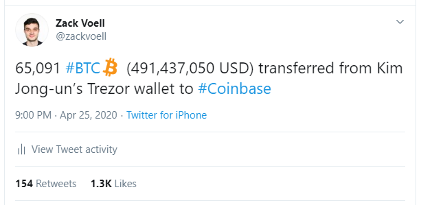 Kim Jong-Un's deleted Bitcoin transfer joke. Source: Twitter