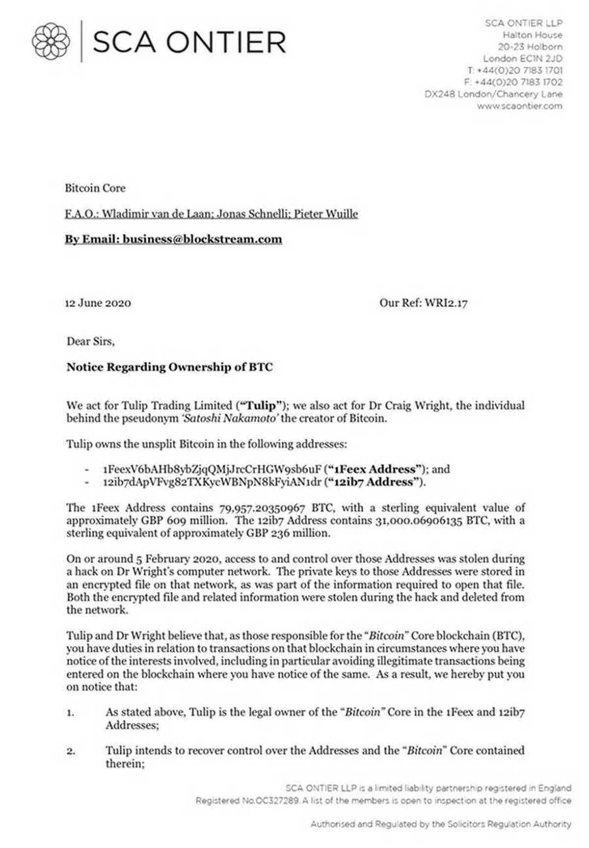 A Letter From Dr. Wright's Counsels to Bitcoin Core Developer Wladimir van der Laan and Blockstream