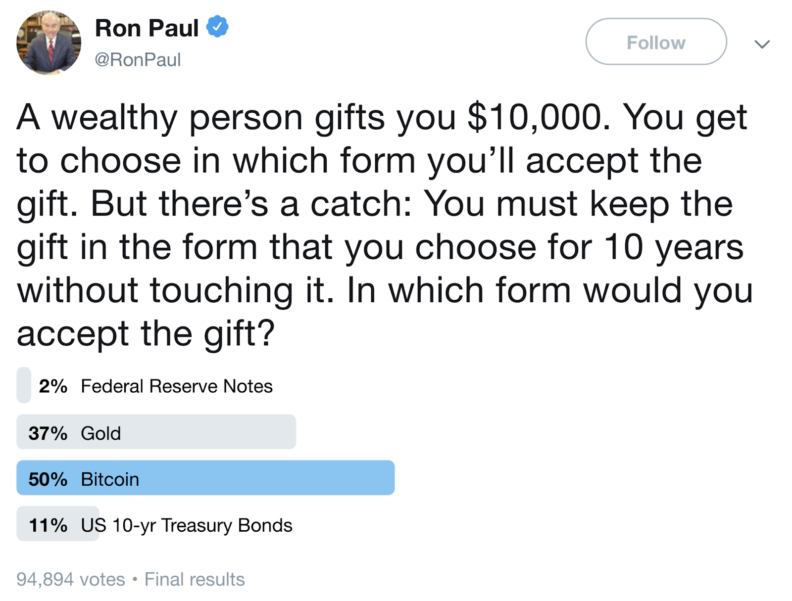 Screenshot of Ron Paul's Nov. 14, 2018 tweet