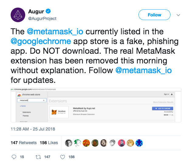 MetaMask Browser Extension Pulled From Google Chrome Store