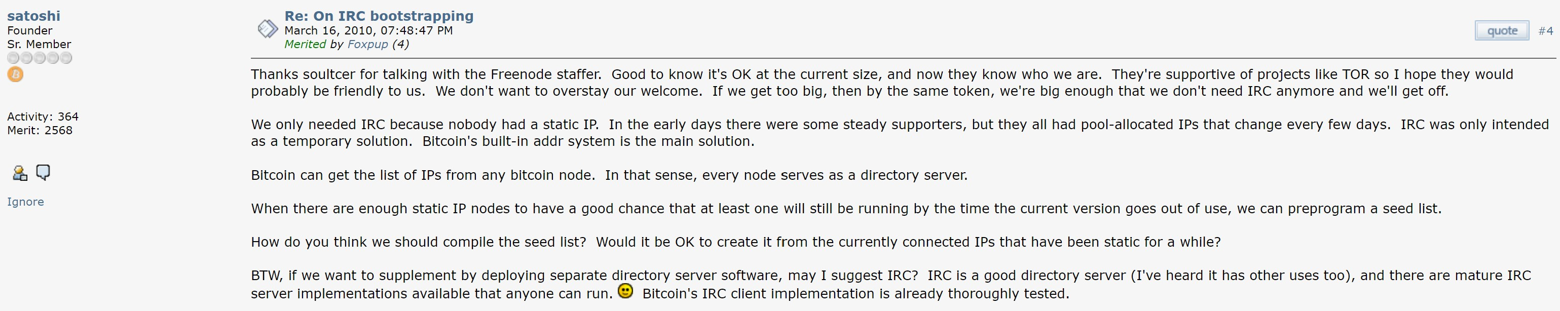 Satoshi Post on Bitcointalk Discussing IRC. Source: Bitcointalk.