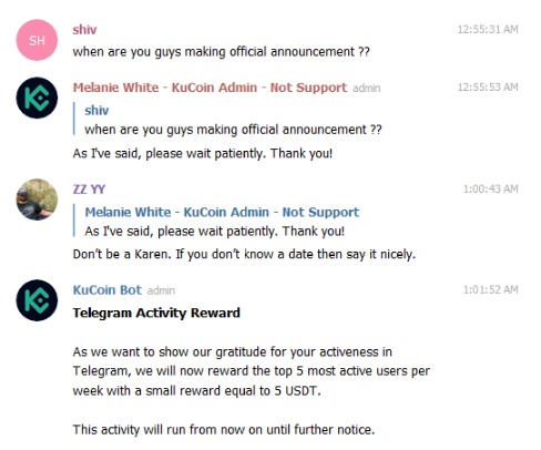 Announcement sparks contention in KuCoin's Telegram