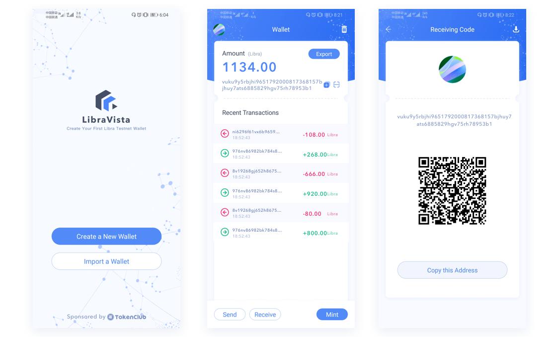 Screenshots of LibraVista Wallet for Android