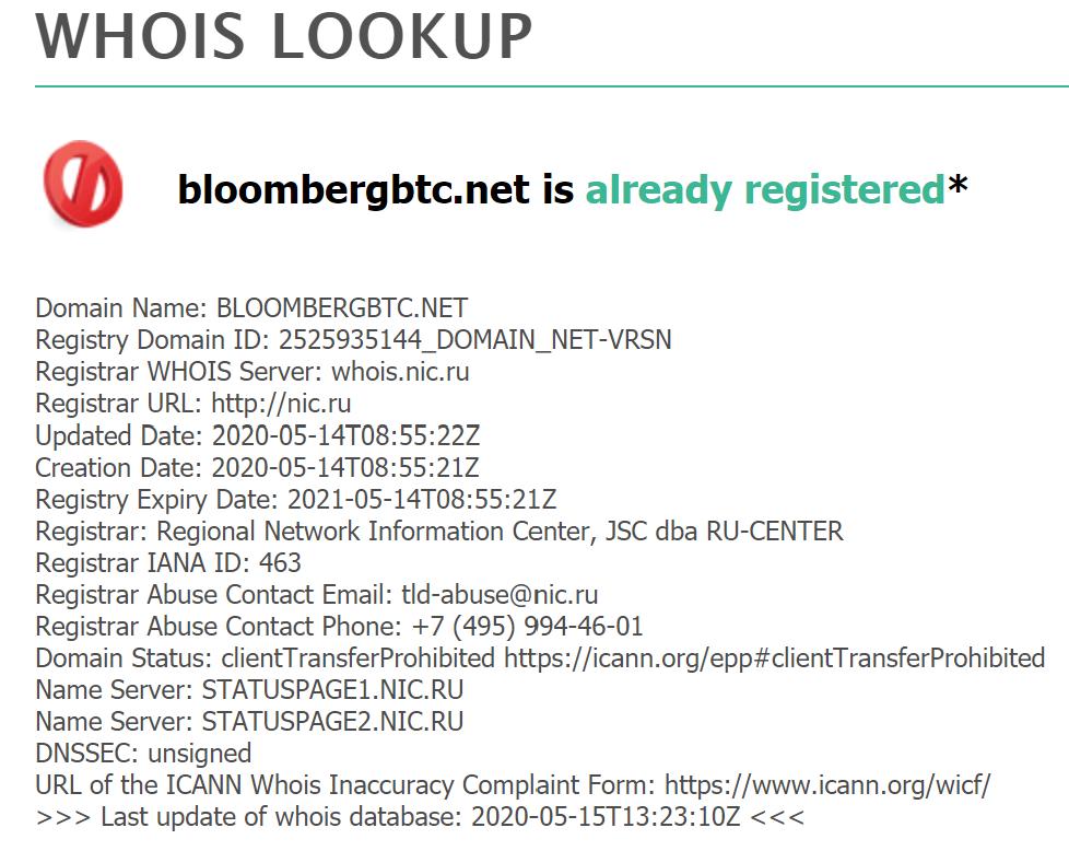 """Registrazione del dominio """"bloombergbtc.net"""""""
