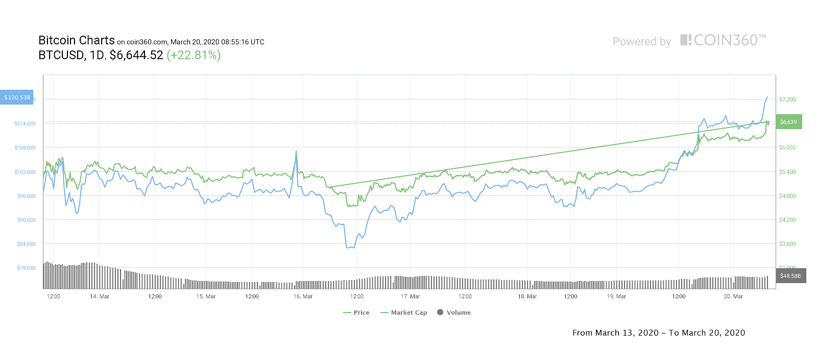 Bitcoin price 7-day chart