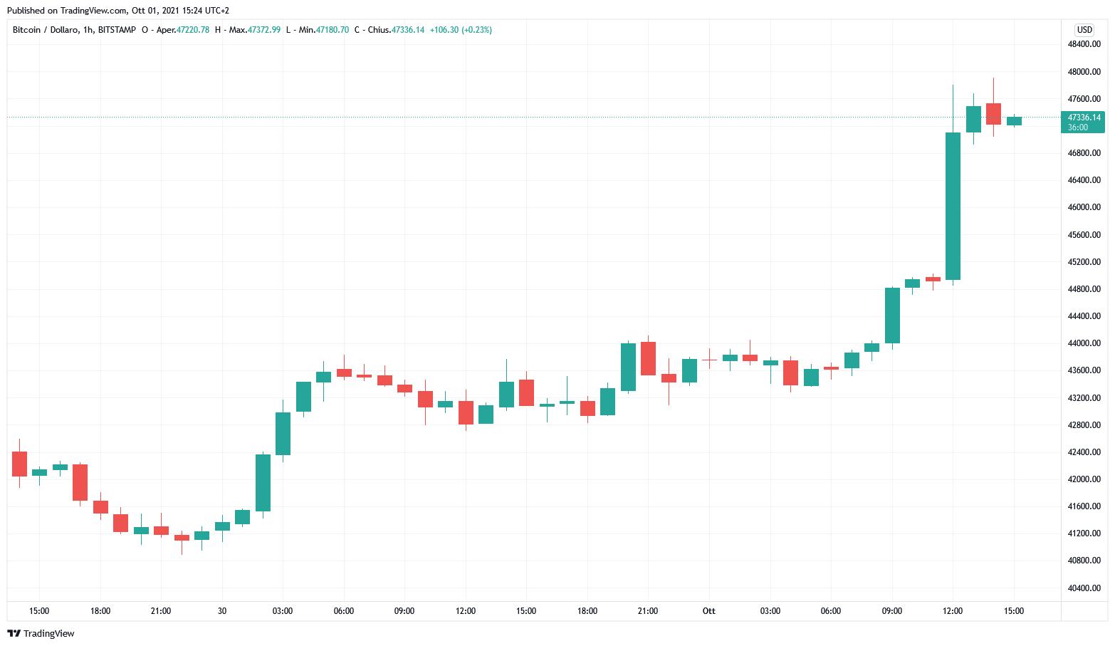 Grafico orario di BTC/USD (Bistamp)