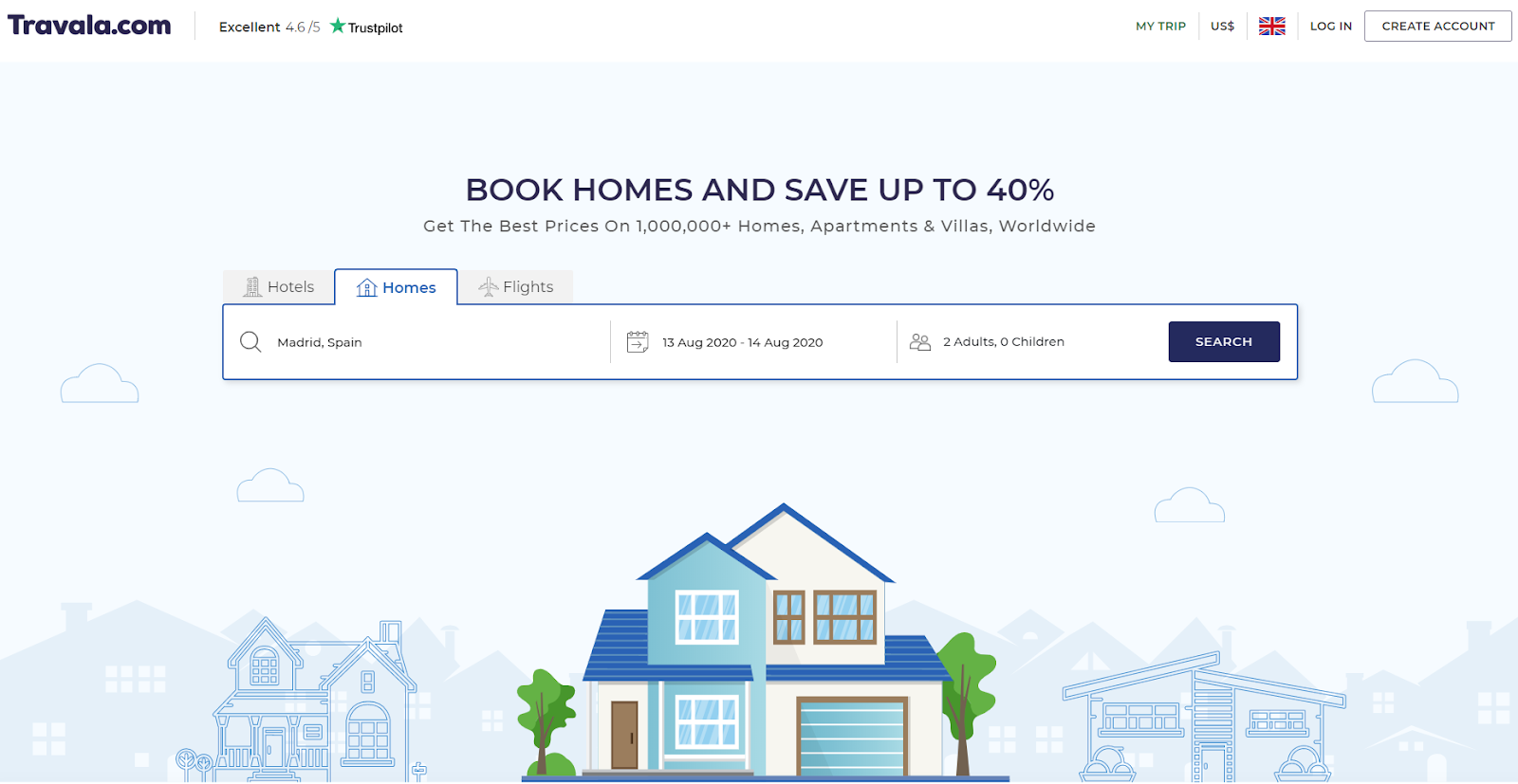 Travala.com's new Homes booking section
