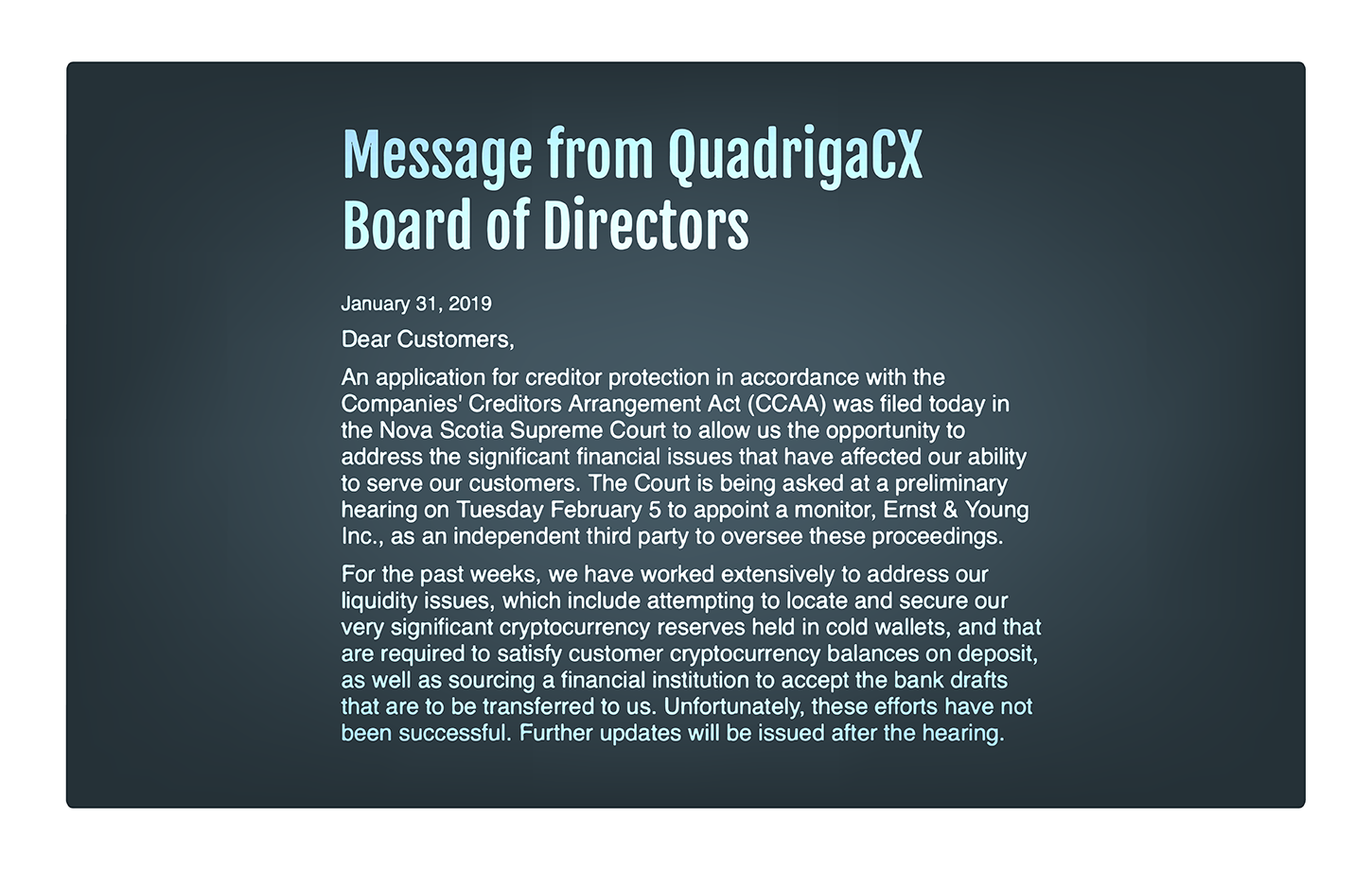 Massage from QuadrigaCX Board of Directors