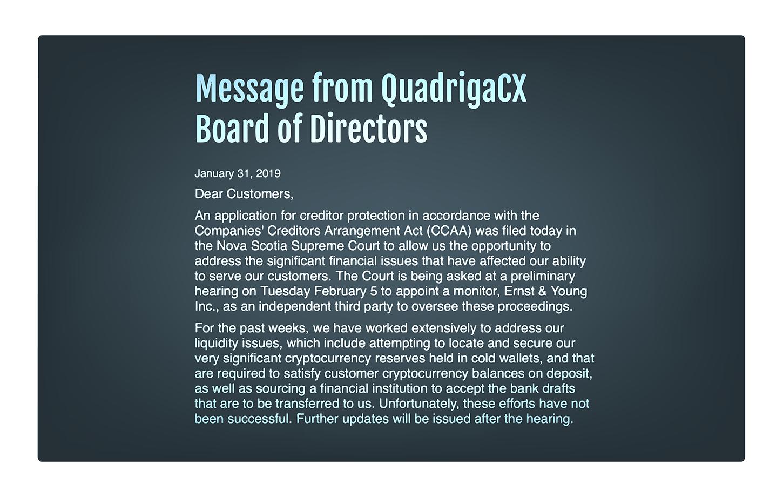 Massage from QuadrigaCX Board of Directors