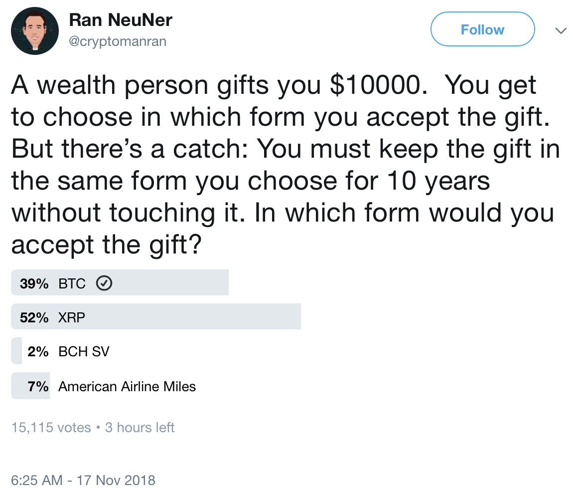 Screenshot of Ran NeuNer's Nov. 17, 2018 tweet