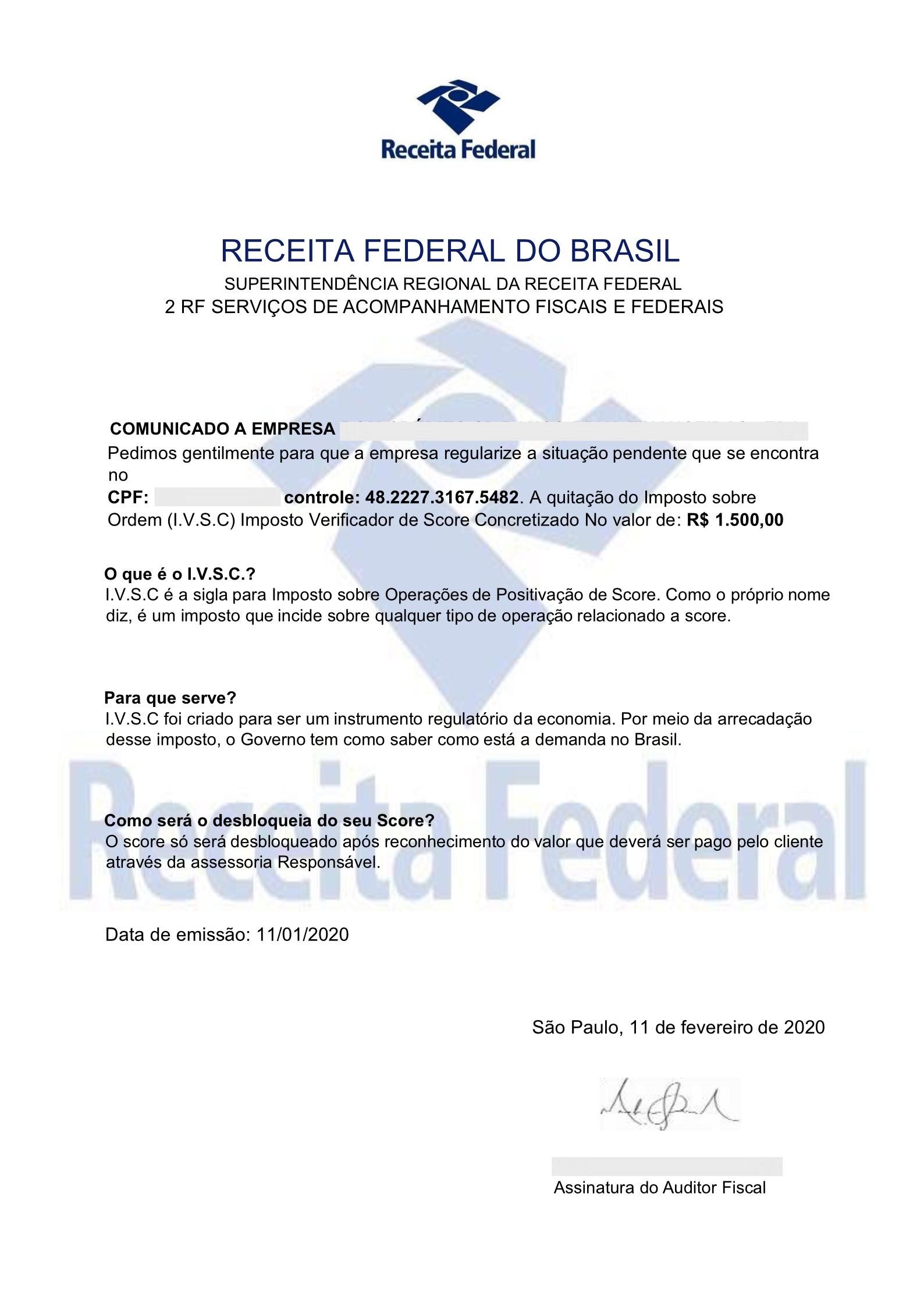 aReceita Federal informouque não fornece dados bancários para o recolhimento de tributos federais via depósito ou transferência