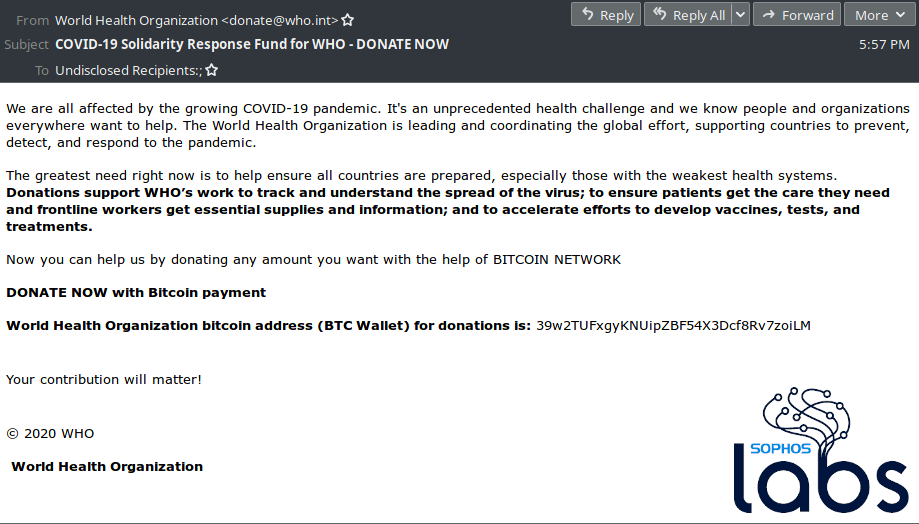 Screenshot of fake email requesting Bitcoin donations for the WHO. Source: Twitter