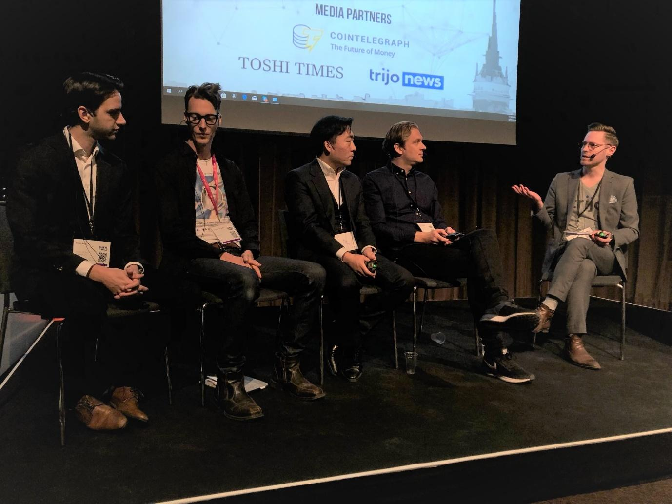 Eric Wall, Christian Ander, Jimmy Zhao, and Frank Schuil discussing Centralized VS Decentralized exchanges. The panel was moderated by Totte Löfström from Trijo News. (Picture Credit: Trijo News)