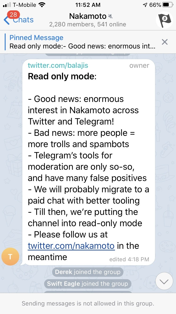 Gruppo Telegram di Nakamoto