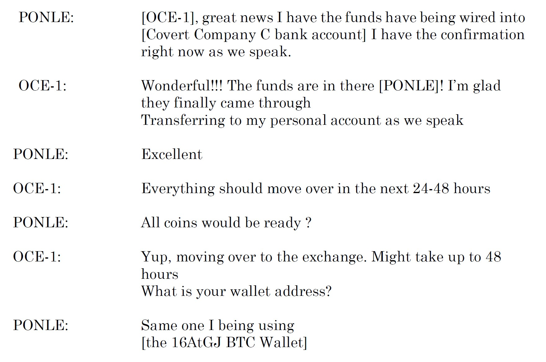A discussion between Ponle and his associate of the Sept. 9, 2019 transaction