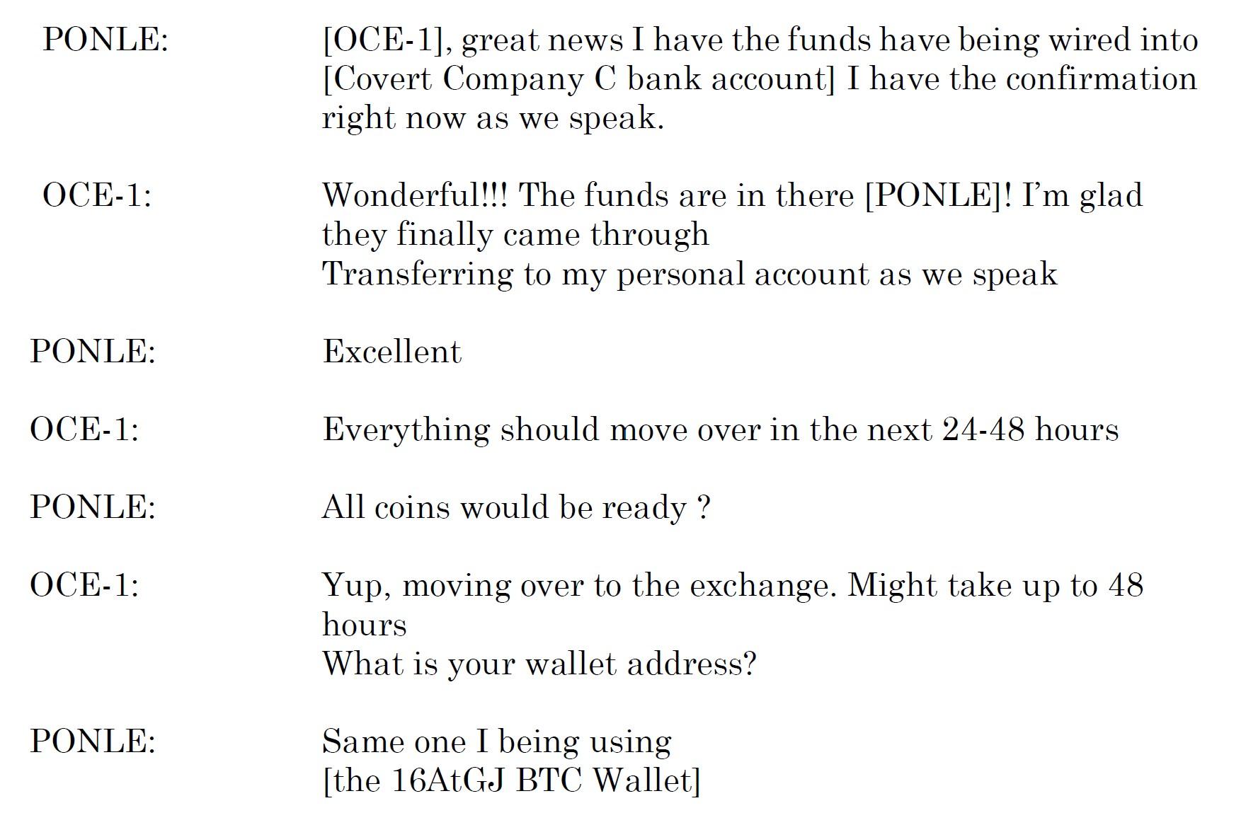 Uma discussão entre Ponle e seu associado da transação em 9 de setembro de 2019