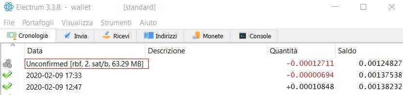 Nell'immagine, una transazione inviata con RBF attivo. I 2 sat/byte possono essere aumentati dall'utente qualora lo volesse