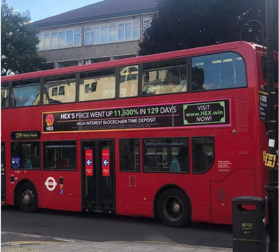 HEX ad on London bus