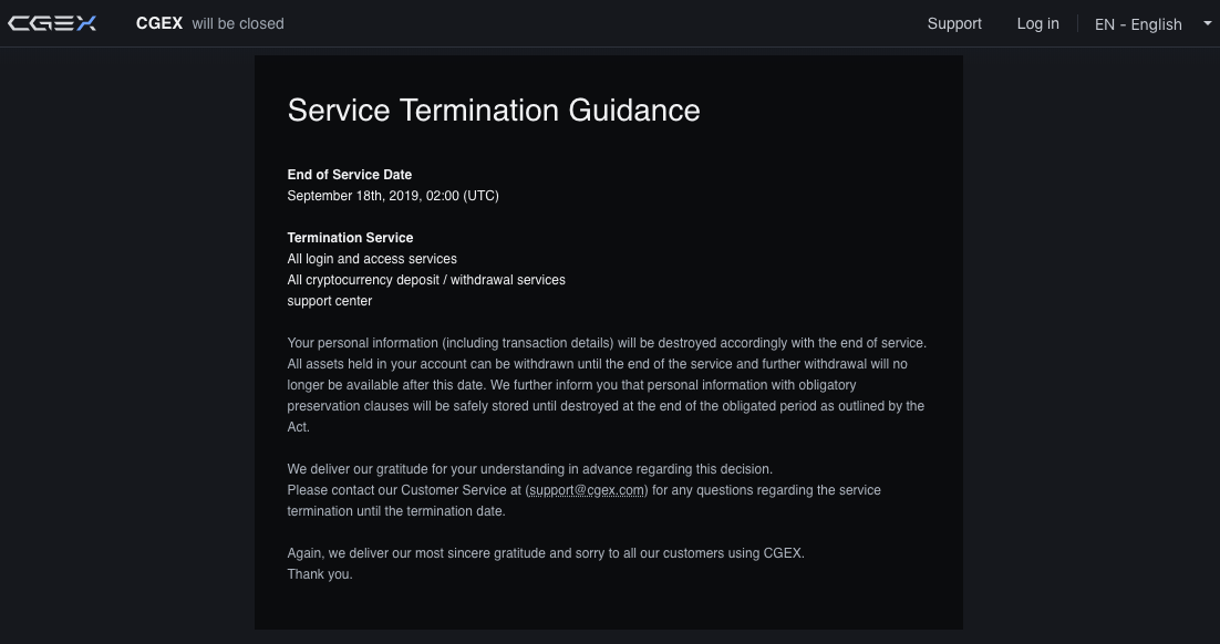 CGEX's services termination notice | Source: CGEX