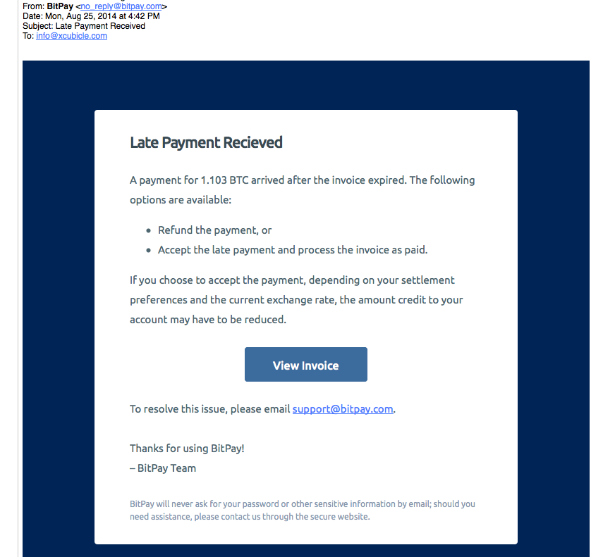 BitPay: Beware Phishing Attempt